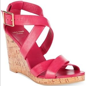COLE HAAN pink strappy wedges with cork detail